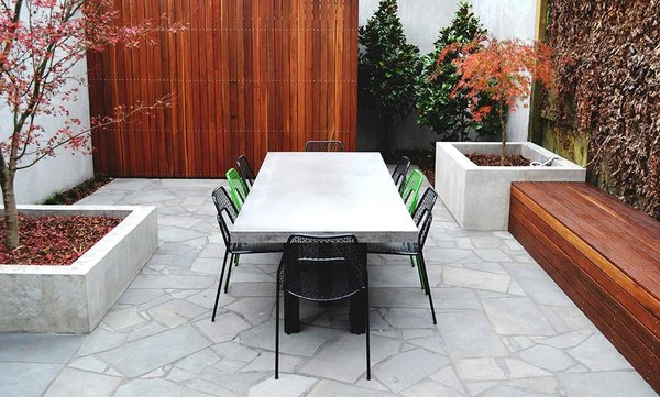 a concrete dining table