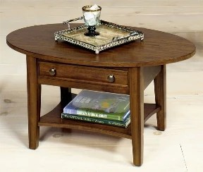 small oval coffee table with drawer walnut finish showroom models