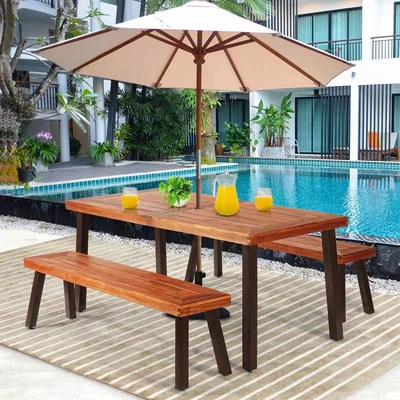 giantex patio dining table set with 2 benches outdoor picnic table set with umbrella hole acacia wood patio seating and rectangular table for
