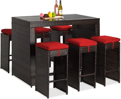 best choice products 7 piece outdoor wicker bar dining set rattan patio furniture for backyard garden w glass table top 6 stools removable