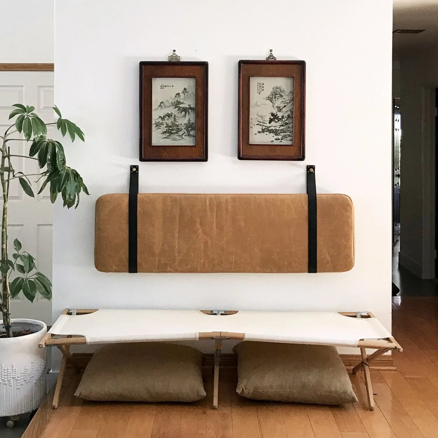 Leather Headboard Cushion with Straps - Bourbon Leather ... on Cognac Leather Headboard  id=47486