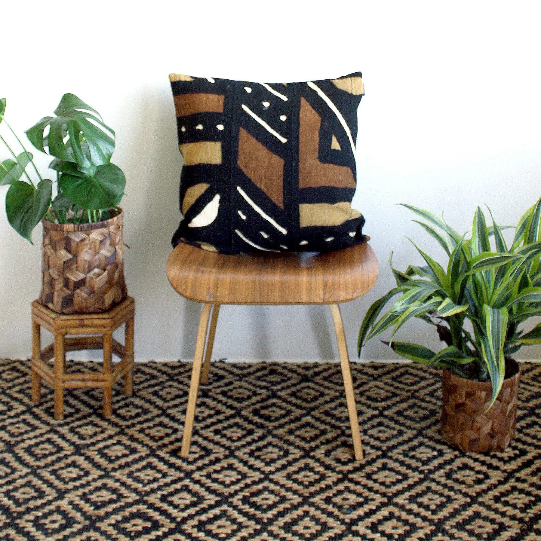 20x20 square black mustard rust mudcloth pillow cover ancient modernism