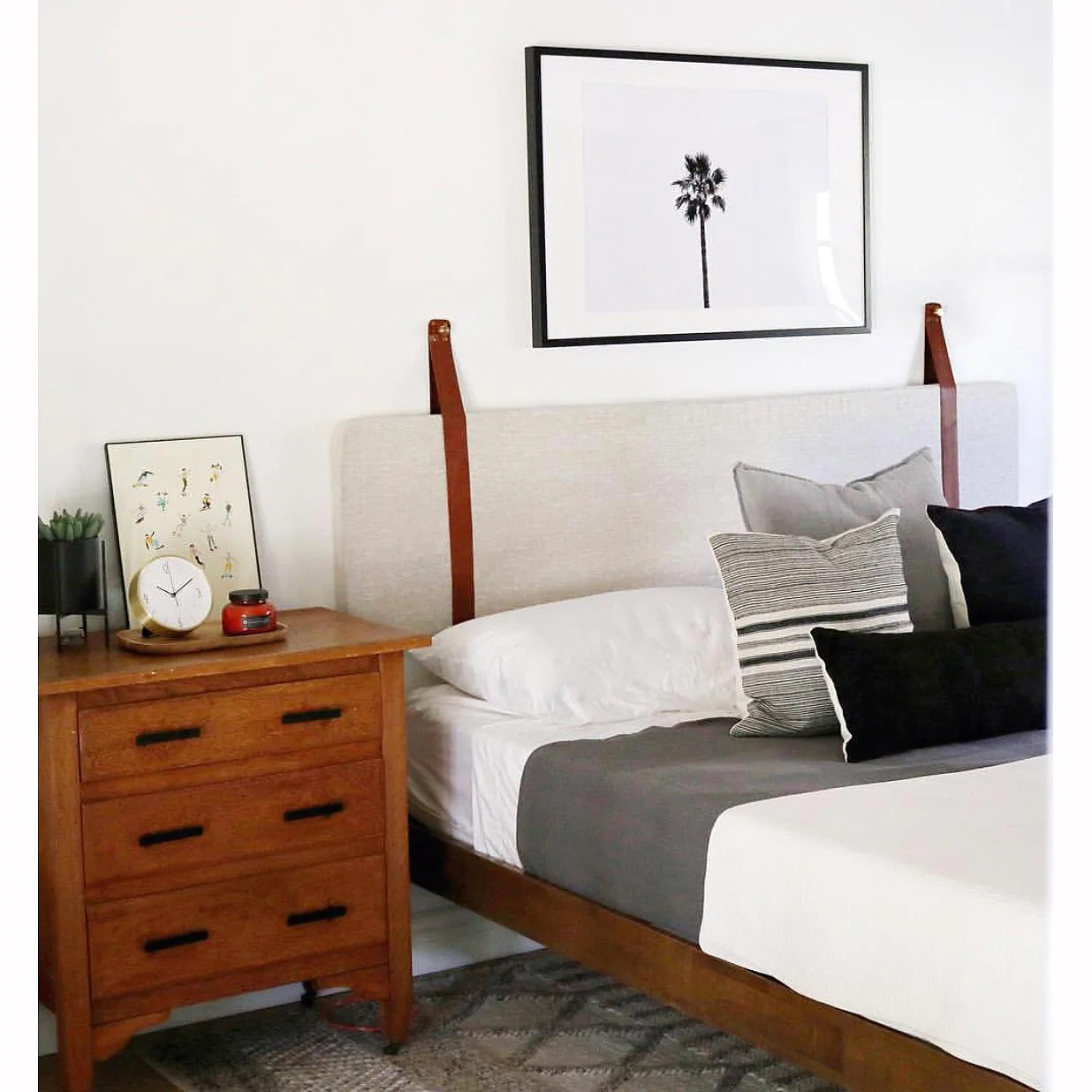 Leather Headboard Cushion with Straps - Black Leather ... on Cognac Leather Headboard  id=45302