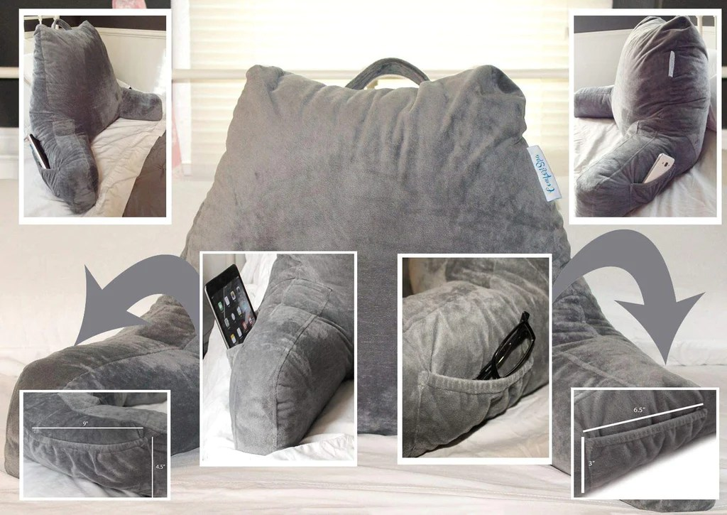 bed wedge large adult backrest lounge cushion with arms and pockets