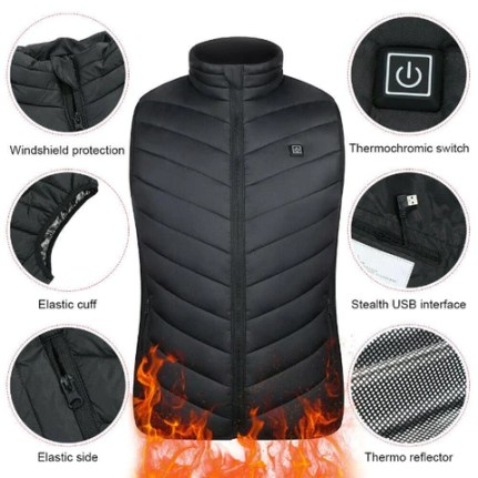 Electric Heated Vest Unisex Warming USB Heating Vest Winter Thermal Clothing