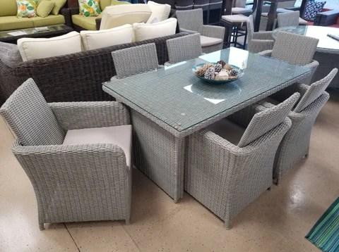 7 piece rectangle glass top grey wicker pe rattan outdoor dining set