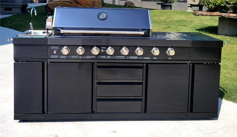 3 in 1 black stainless steel outdoor bbq kitchen island combo grill propane lpg w sink