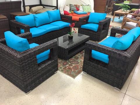 rosarito wicker rattan conversation outdoor patio furniture set