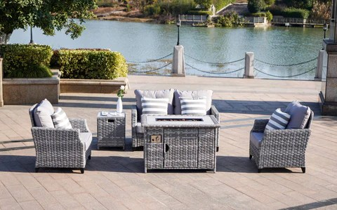 modern grey wicker 5 piece outdoor patio furniture set 2 seater sofa with gas fire pit