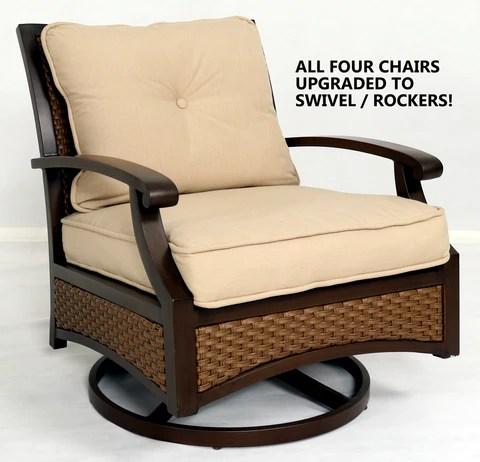 5 piece sunbrella swivel rocker chair outdoor patio furniture set with fire pit