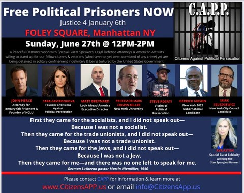 Sunday, June 27 at Foley Square in NYC from 12pm to 2pm!  Join Us!!