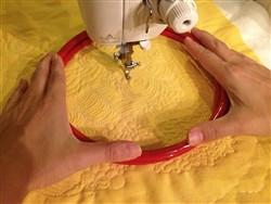 I Love this free motion quilting tool for holding fabric