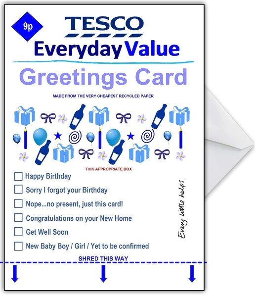 Supermarket Spoof Birthday Card TESCO Everyday Value