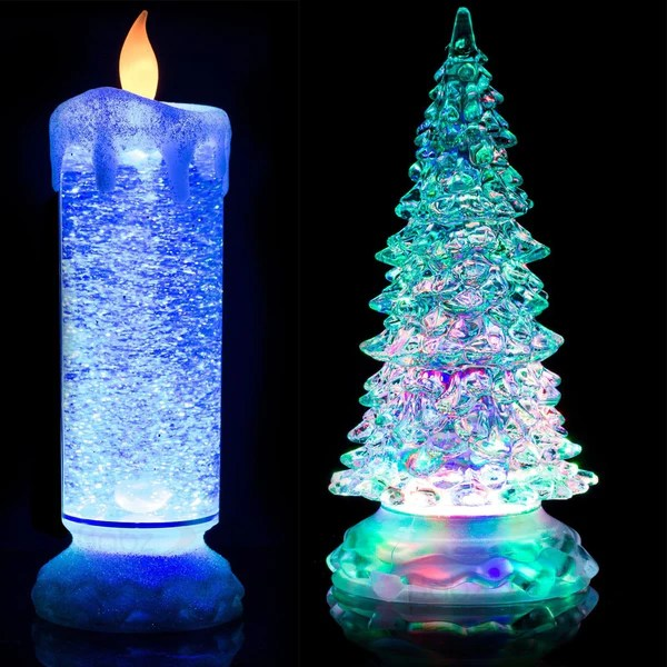 24cm SWIRLING LED COLOUR CHANGING FLAMELESS FLICKERING