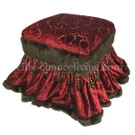 Red Velvet Foot Stool Vanity Stool Reilly Chance Collection