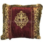 Luxury Decorative Pillow Burgundy And Gold Fleur De Lis 21