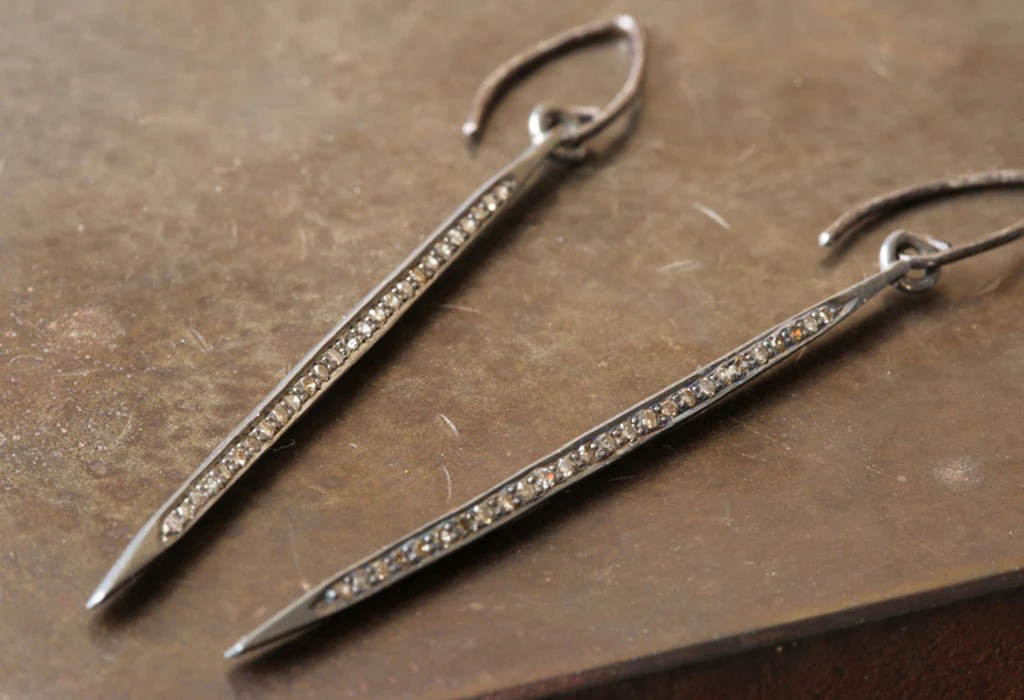 Pav Diamond Spike Earrings Silver Alexis Russell