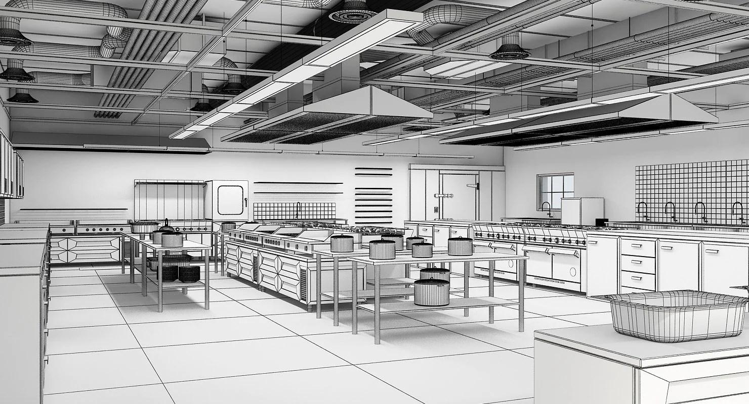Commercial Kitchen 3D Model - WireCASE on Modern:8-Rtxafges8= Model Kitchen  id=53911