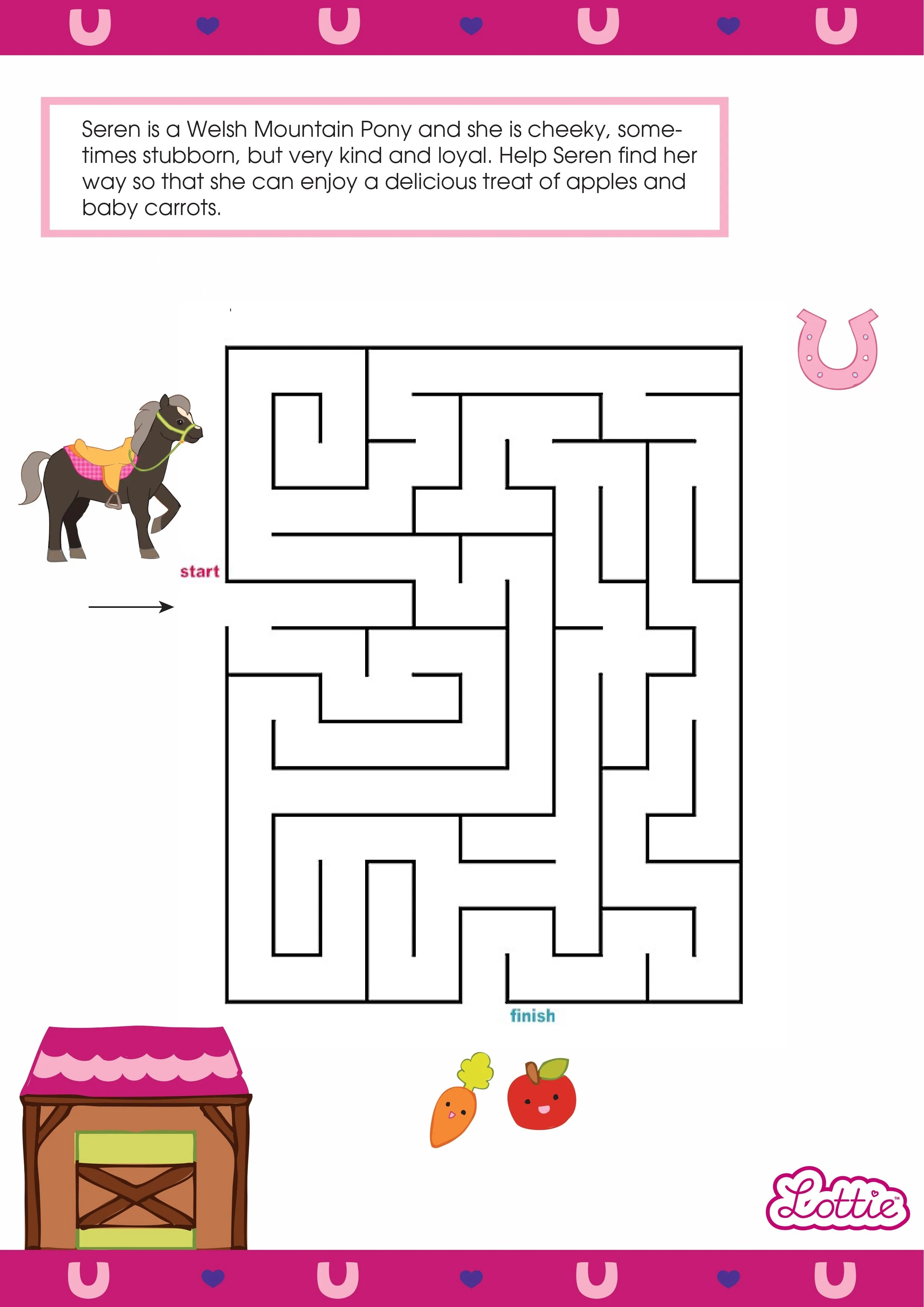 Seren The Welsh Mountain Pony Lottie Printable Maze