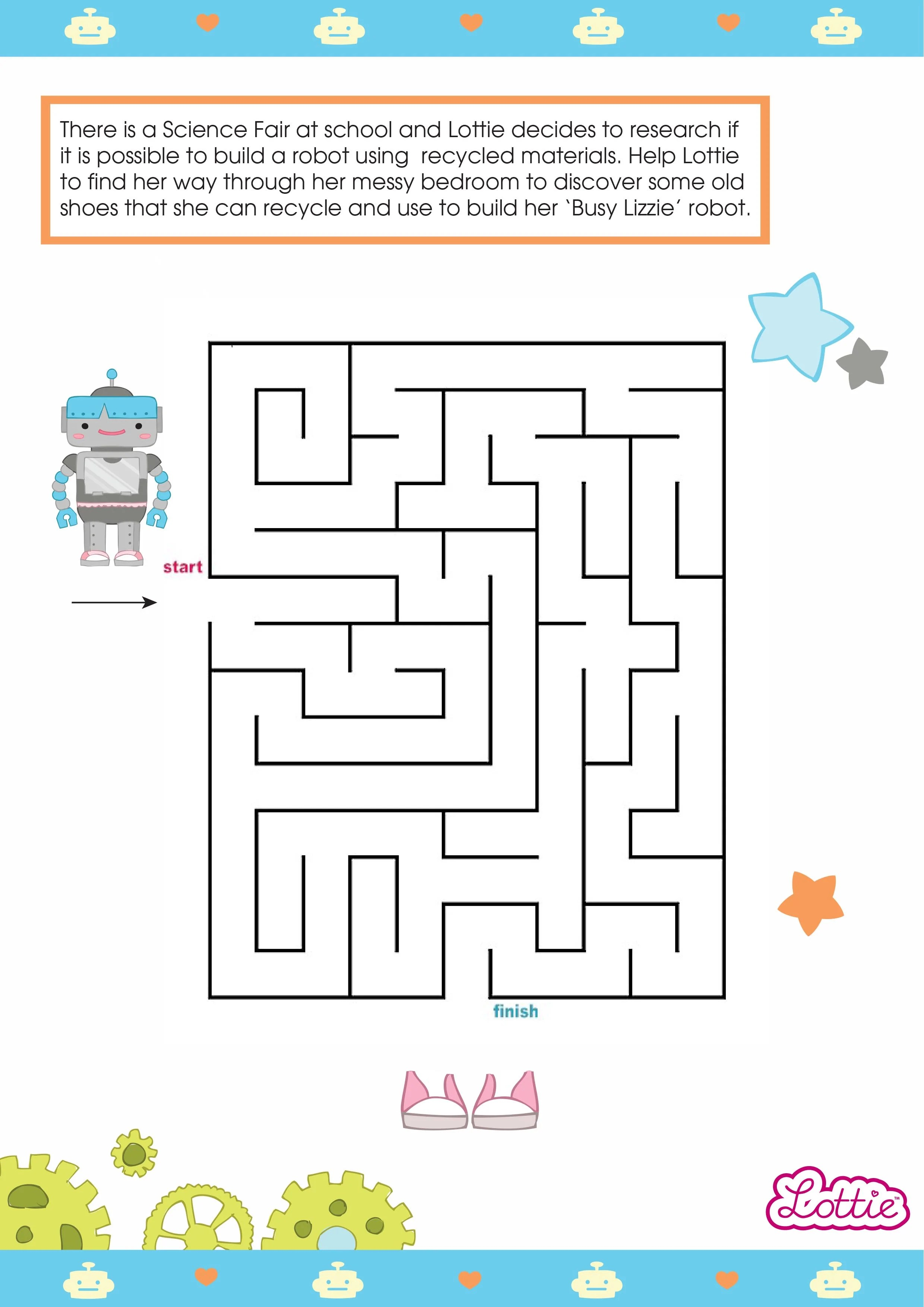 Robot Girl Lottie And Busy Lizzie The Robot Printable Maze Lottie Dolls