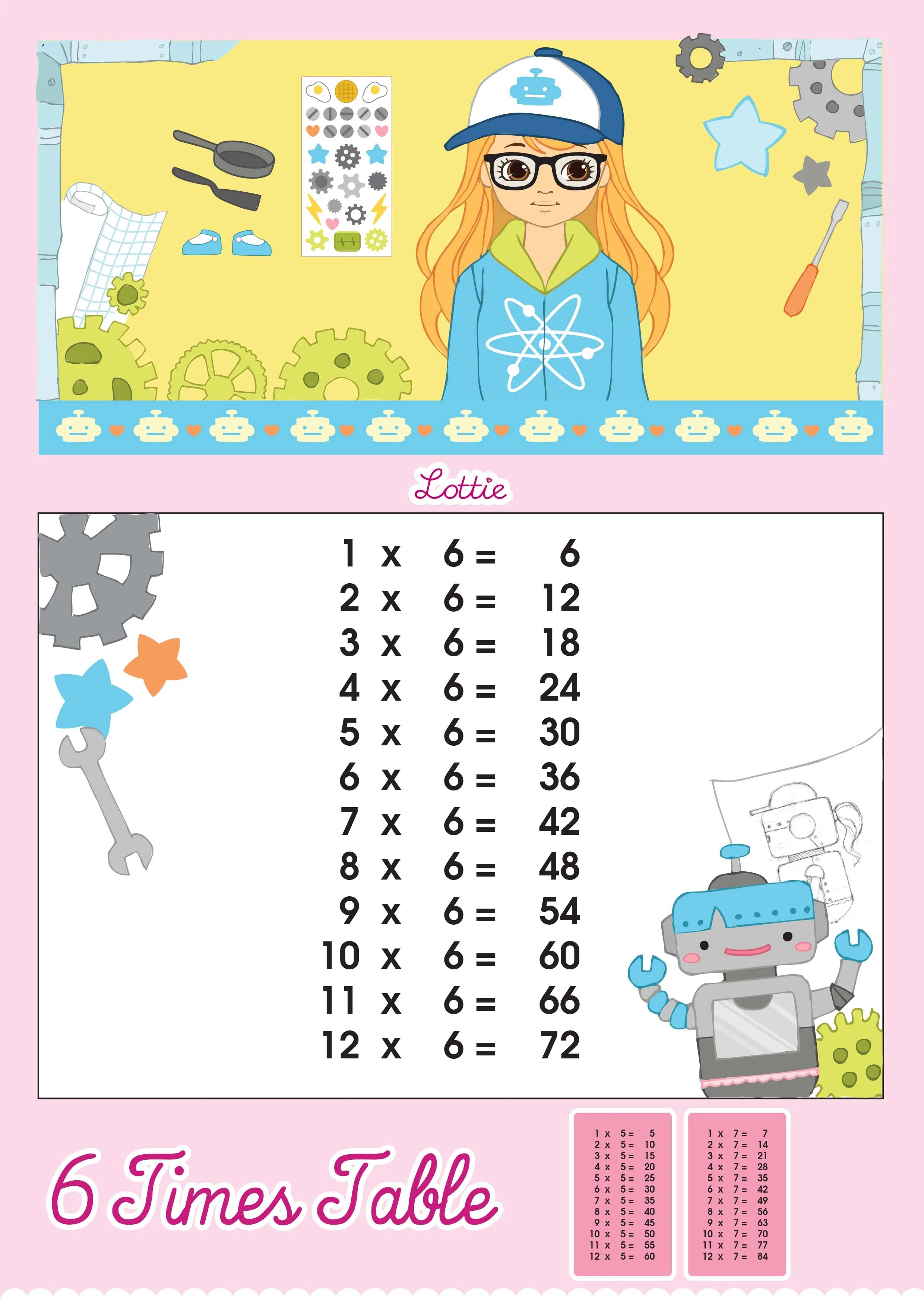 6 Times Table Printable Chart Lottie Dolls
