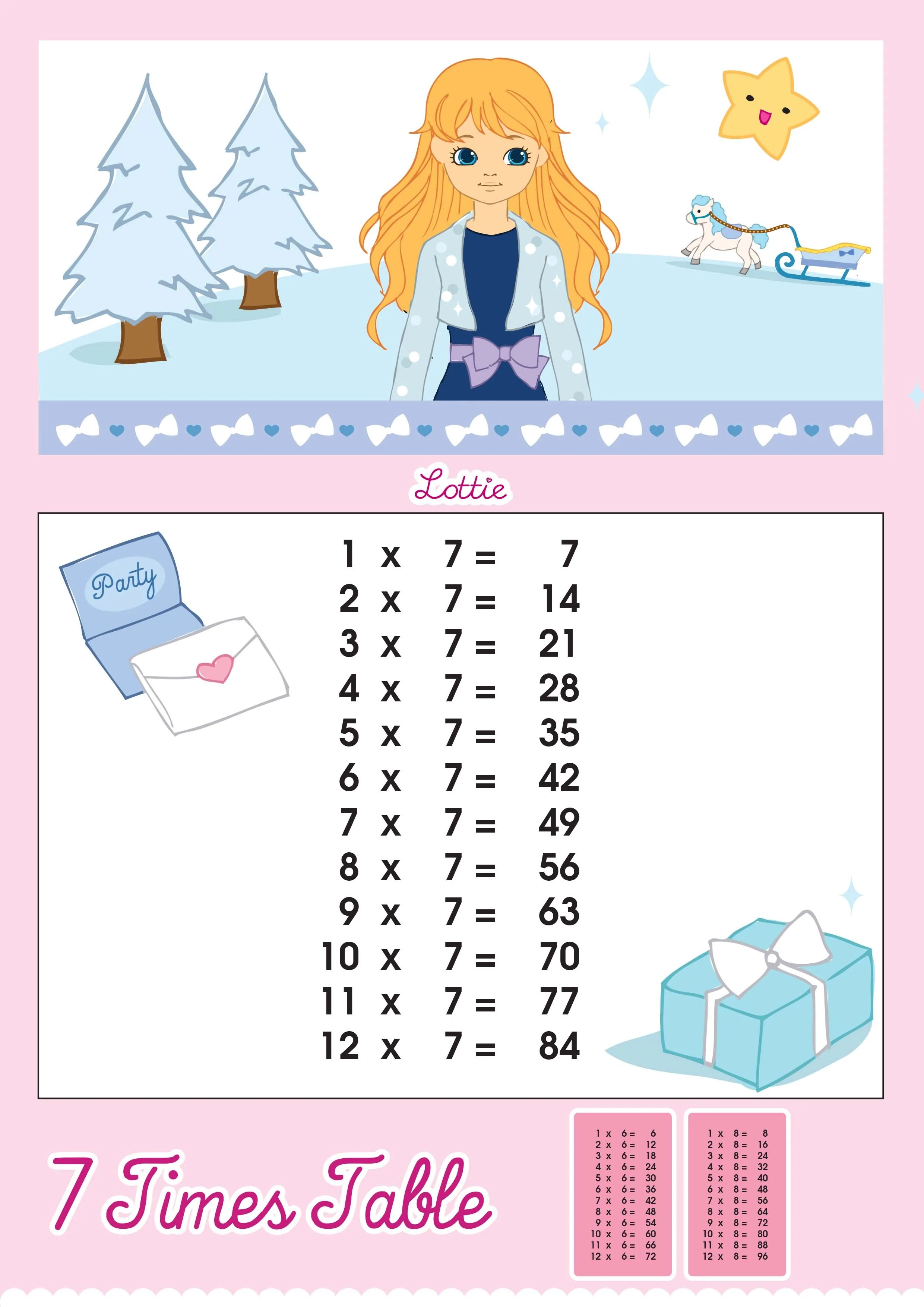 7 Times Table Printable Chart Lottie Dolls
