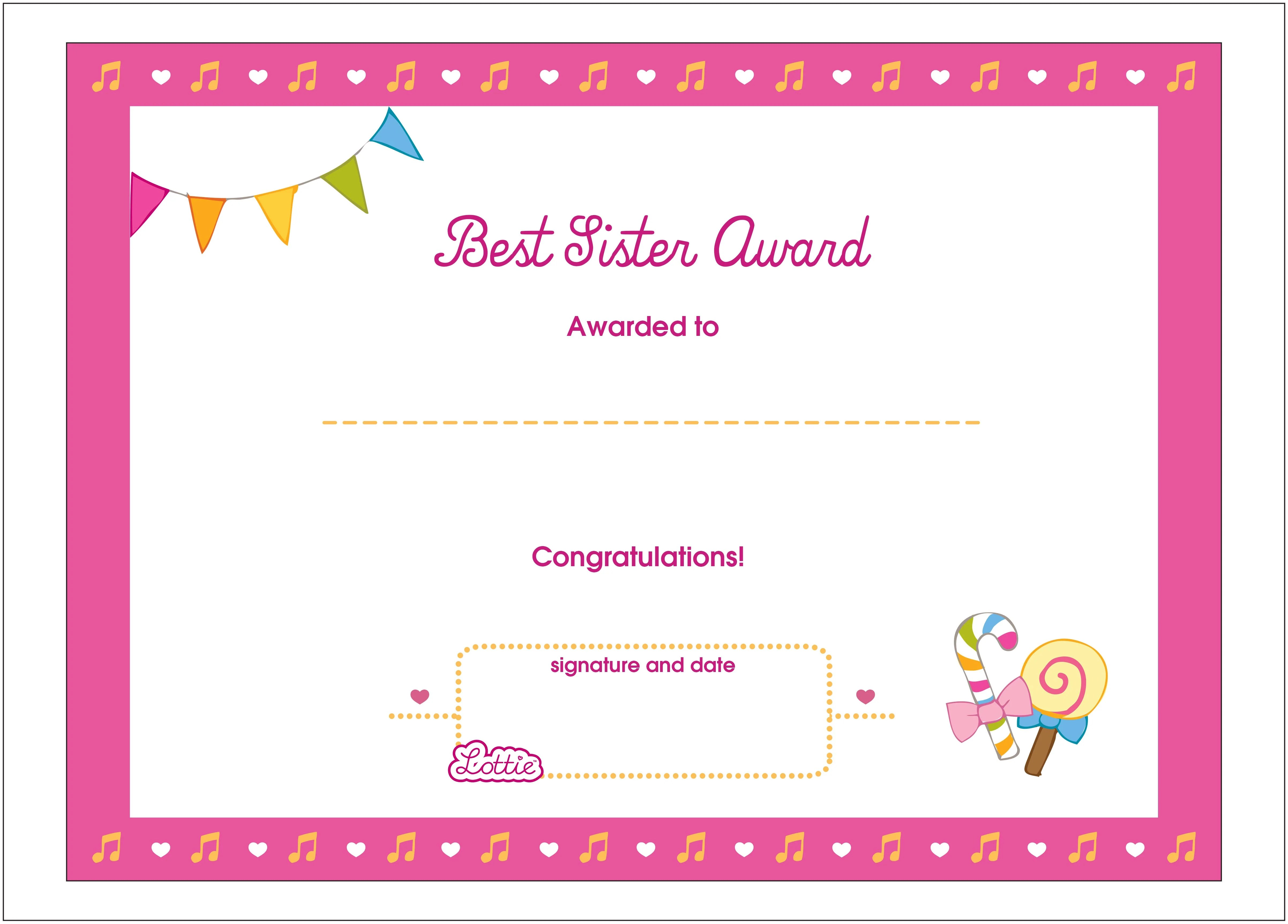 Best Sister Printable Award Certificate Lottie Dolls