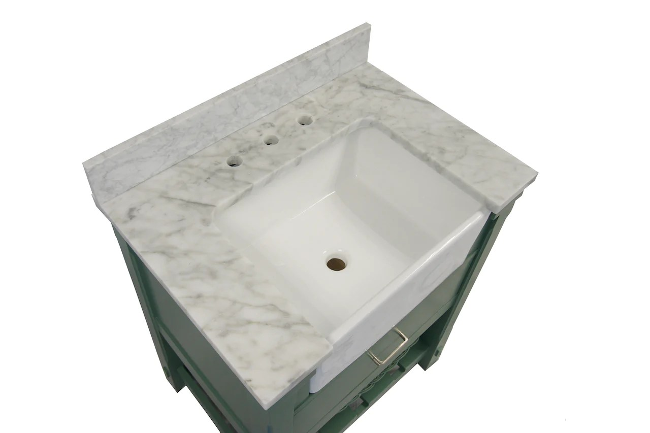 charlotte 30 inch farmhouse vanity with carrara marble top