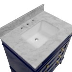 Eleanor 30 Freestanding Powder Room Bathroom Vanity Carrara Marble Kitchenbathcollection