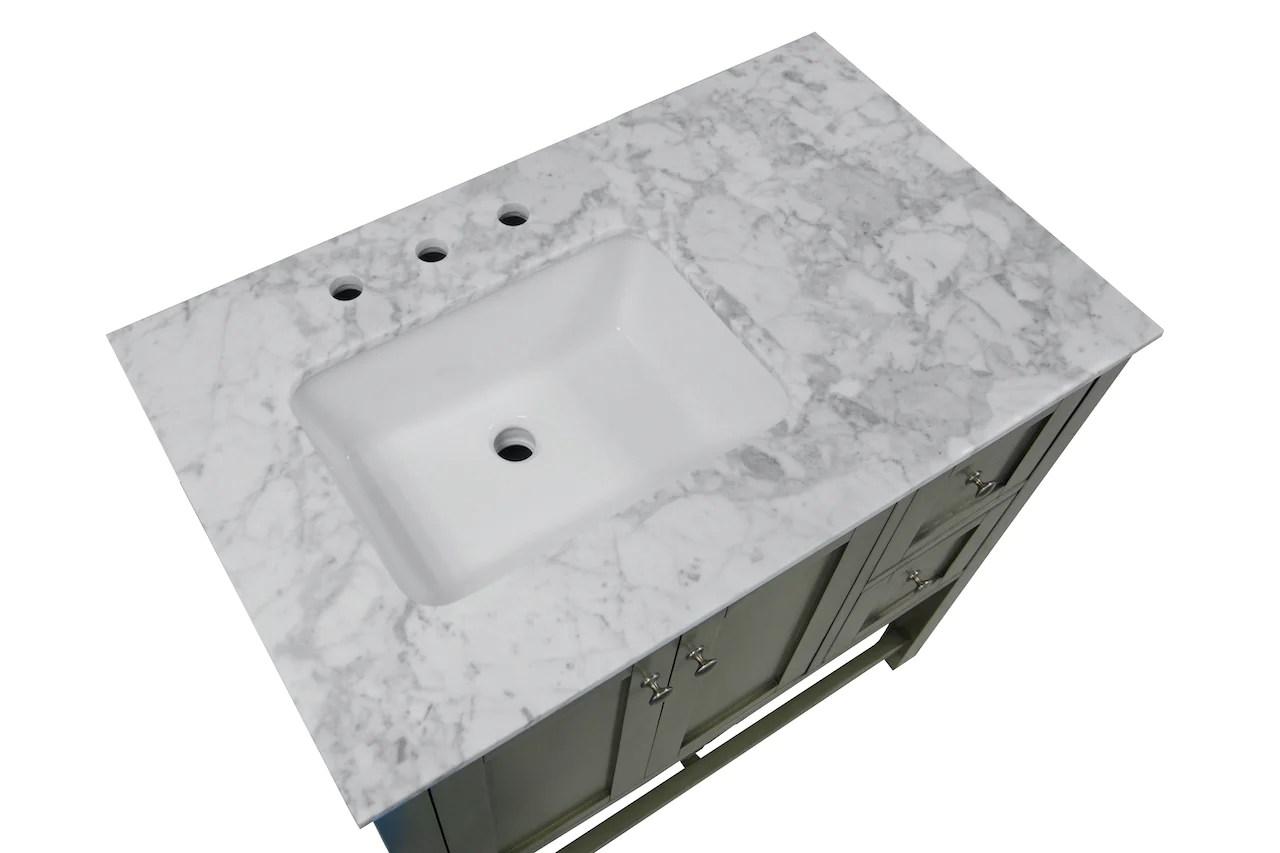 lakeshore 36 inch vanity with carrara marble top