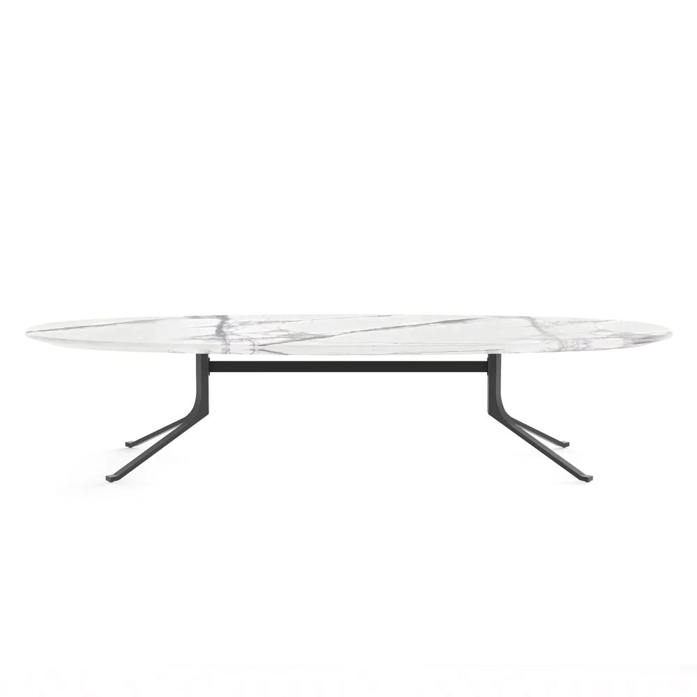 blink oval coffee table stone top