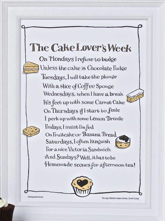 Bespoke Verse The Cake Lovers Week Poem Print Indigo