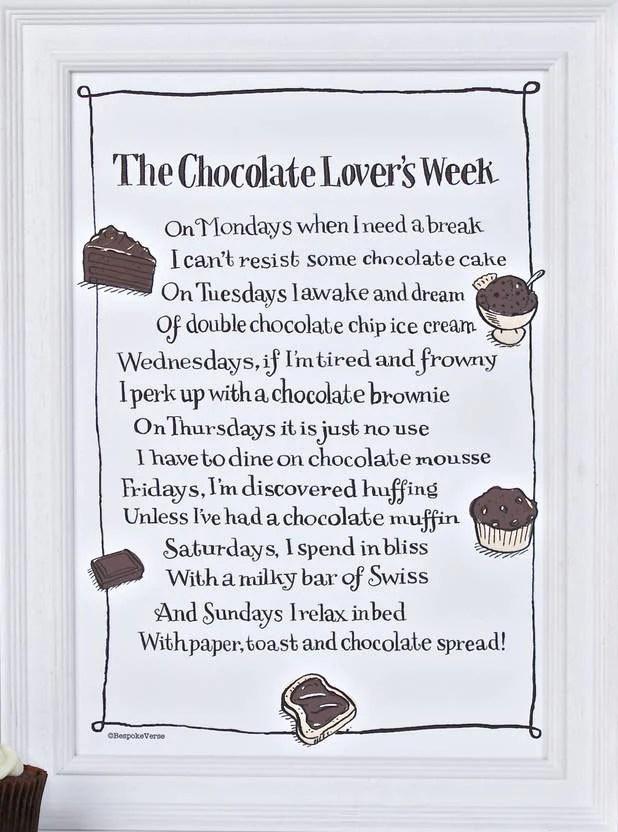 Bespoke Verse The Chocolate Lovers Week Poem Print