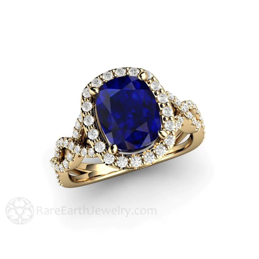 Blue Sapphire Engagement Ring Cushion Cut Infinity Halo