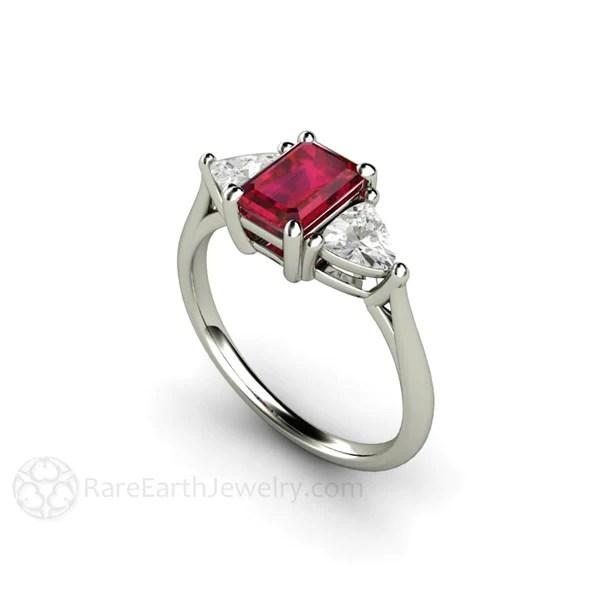 Three Stone Ruby Ring Emerald Cut Vintage Design July
