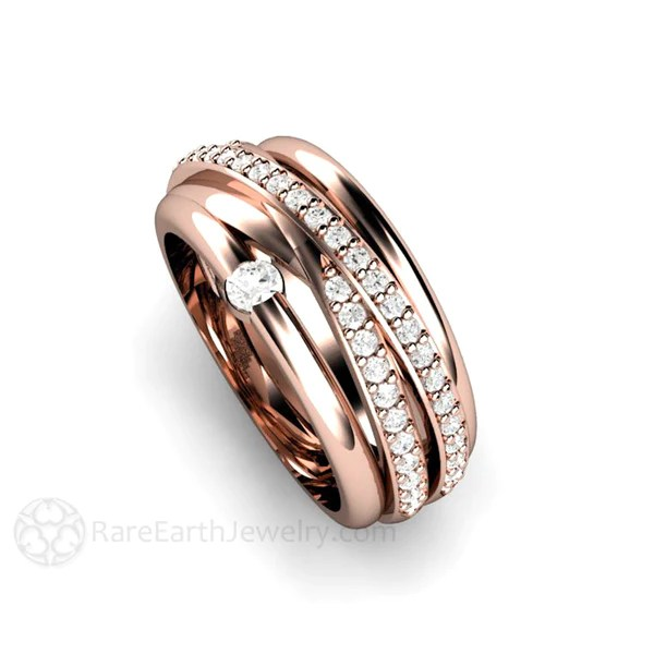 Multi Band All In One Wedding Ring Or Anniversary Band