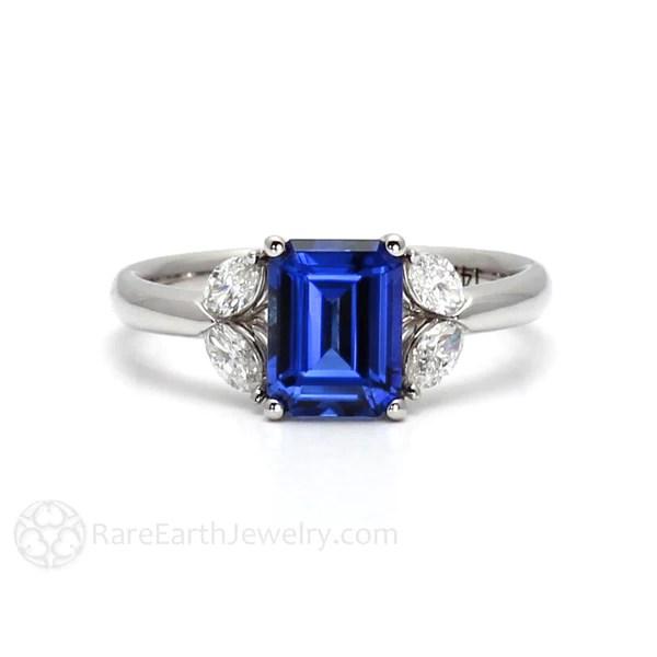 Emerald Cut Blue Sapphire Ring 5 Stone Bridal Jewelry 14K