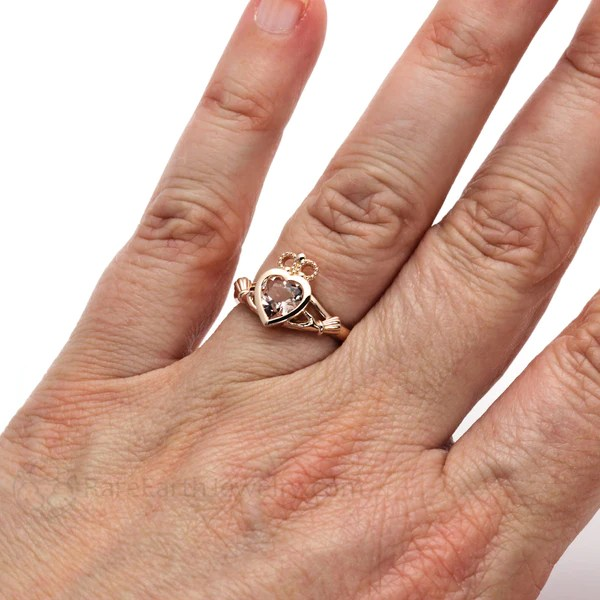 Morganite Claddagh Ring 14K Or 18K Irish Engagement