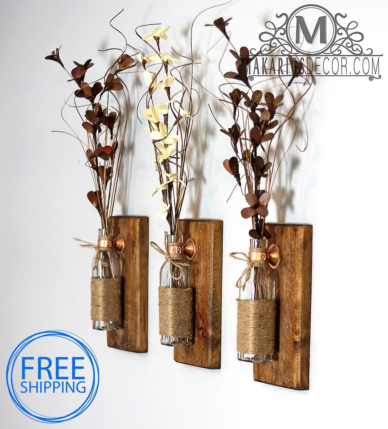 Rustic Wall Sconce Flowers - Natural Stem Flowers, Sconce ... on Flower Wall Sconces id=41138