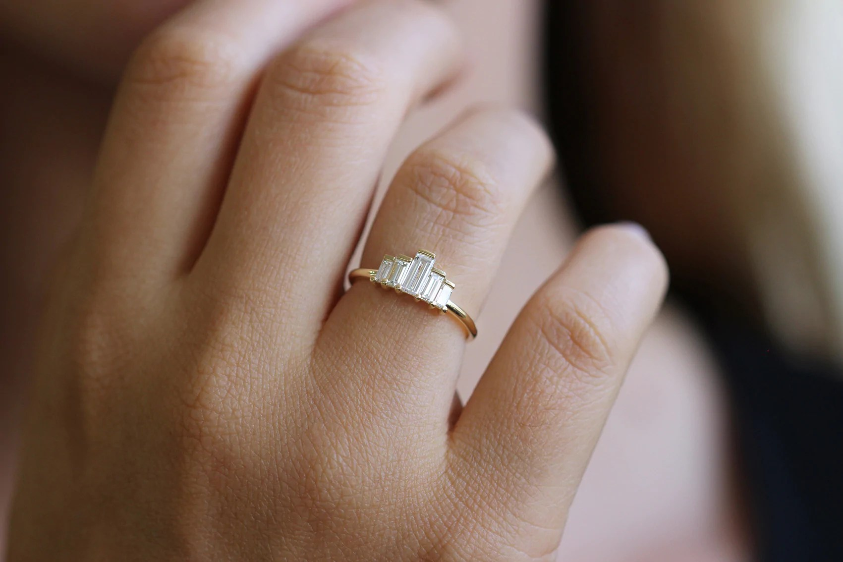 Baguette Engagement Ring Art Deco Engagement Ring 05