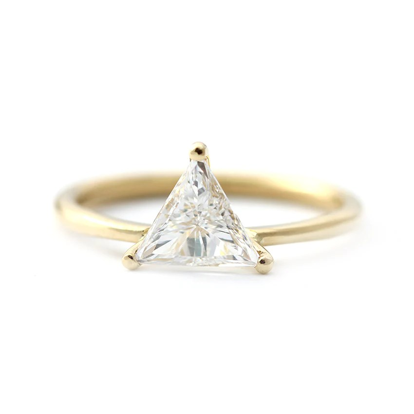 Triangle Diamond Ring In Prong Setting 08 Carat ARTEMER