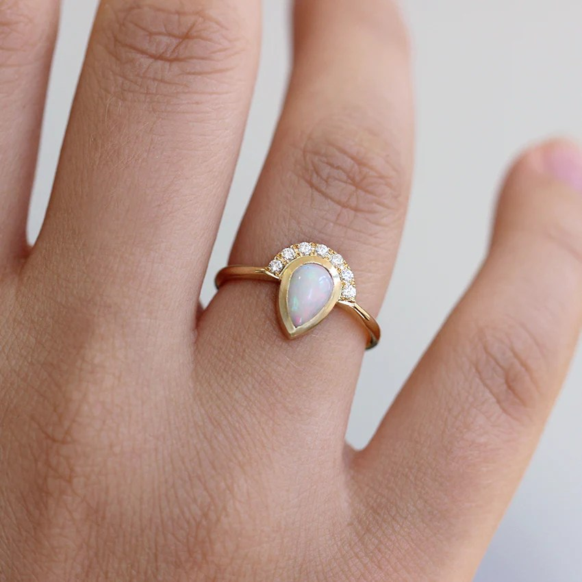 Opal Engagement Ring White Opal Ring Artemer