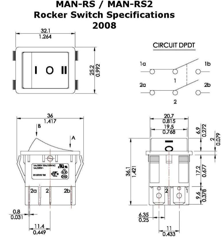 Rocker Switches for Linear Actuators  Momentary and