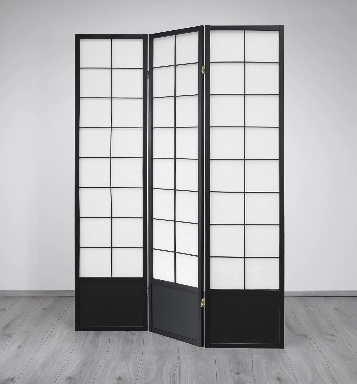 Hoshi Room Divider Screen Black 3 Panel Room Dividers Uk