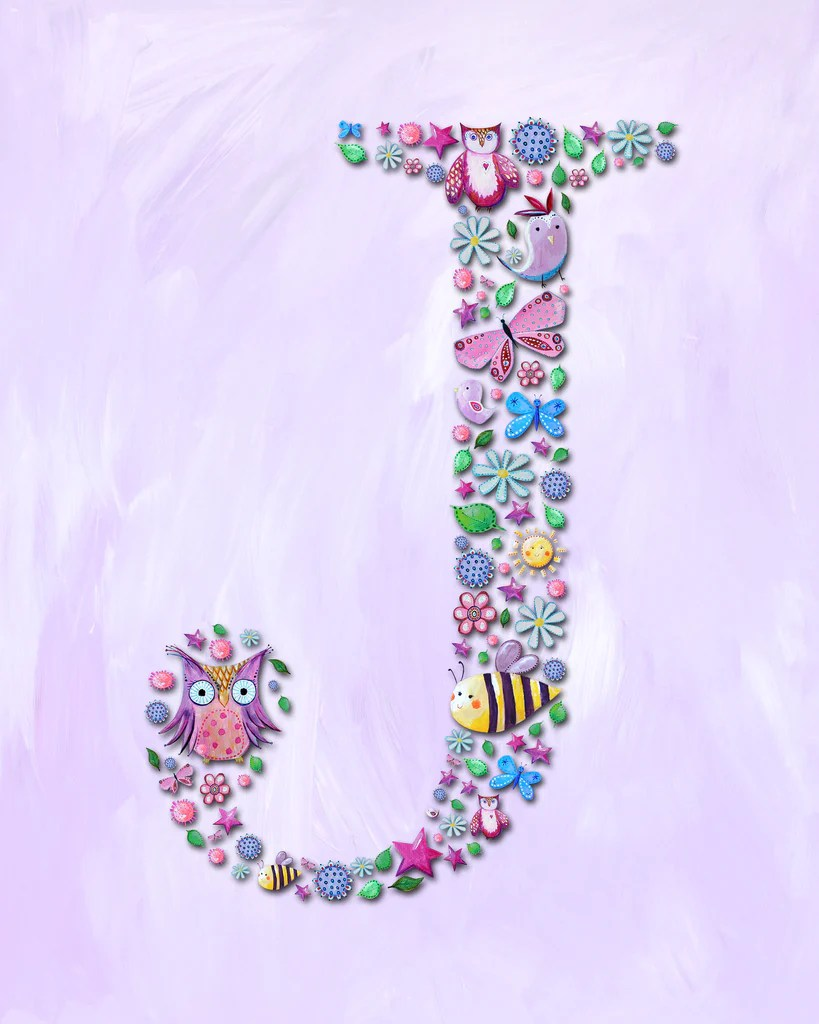 Name Art for Kids Letter J Nursery Art Print from Cici