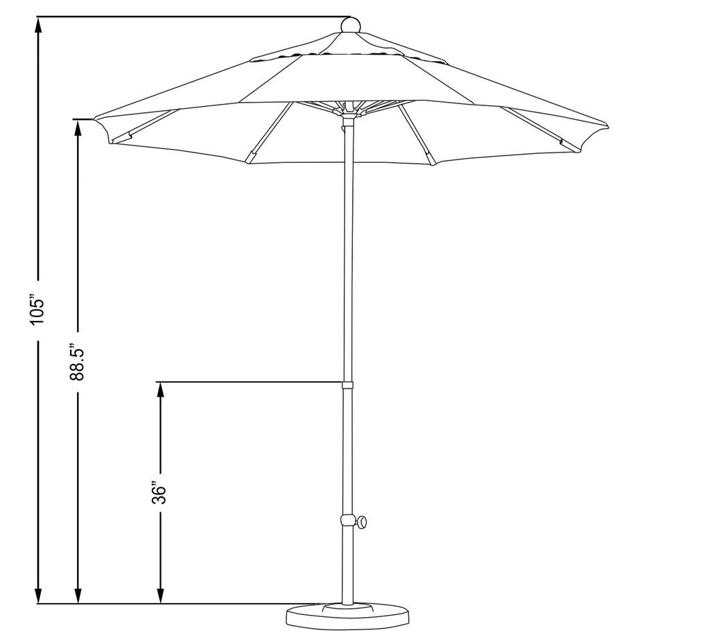 7 5 foot sunbrella fabric fiberglass pulley lift patio market umbrella