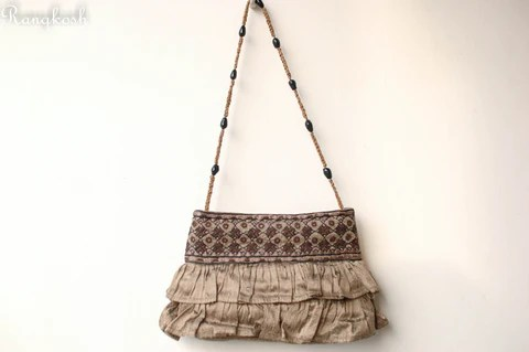 Kutchi Embroidered Frill Purse - Raw Silk - Olive Green