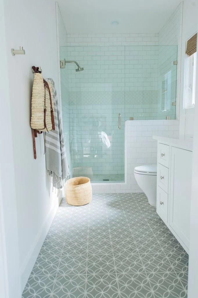 cement tile with ceramic greige design