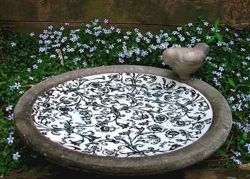 Aged Ceramic Ground Deck Mount Bird Bath The Birdhouse Chick