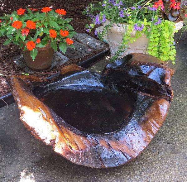 Natural Teak Ground Bird Bath Large Ground Baths